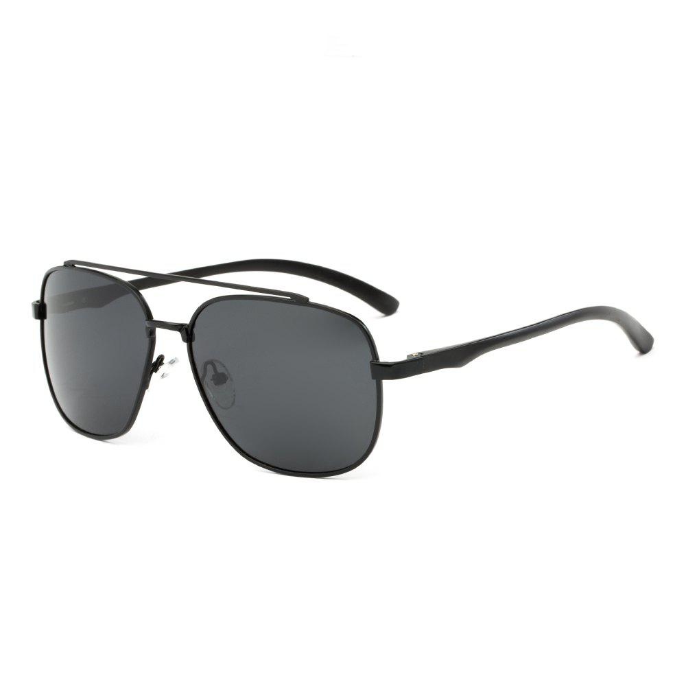 TOMYE P1001 Square Frame Men Pilot Polarized Sunglasses - BLACK