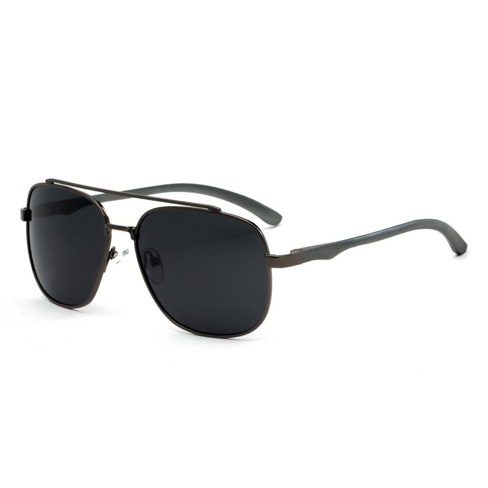 TOMYE P1001 Square Frame Men Pilot Polarized Sunglasses - GUN METAL