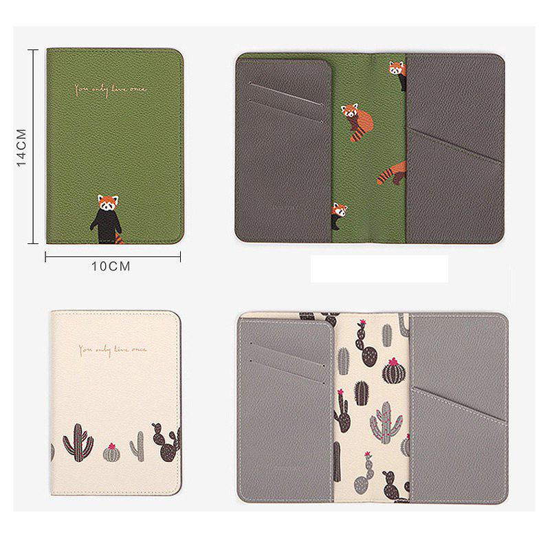 Travel Document Organizer Flower Animal Pattern Passport ID Card Storage Bag - GREEN