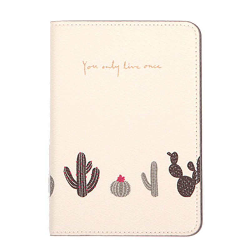 Organisateur de document de voyage Flower Animal Pattern Passeport ID Card Sac de rangement - Blanc
