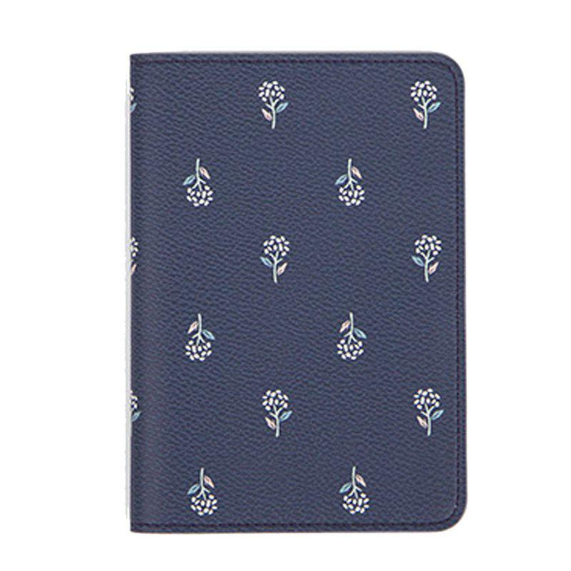 Travel Document Organizer Flower Animal Pattern Passport ID Card Storage Bag - CADETBLUE