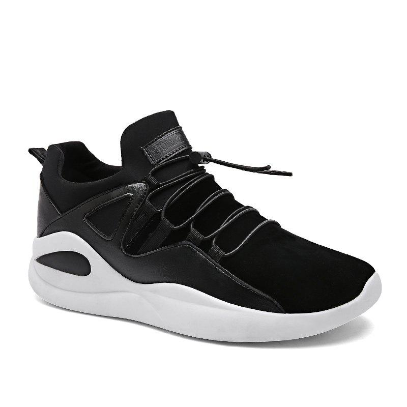 Men Fashion Dark Style Sneakers - BLACK WHITE 39