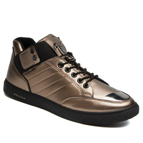 Middle Vamp Leather Upper Leisure Shoes - GOLDEN 44
