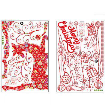 New 2PCS Christmas Elk Mosaic Removable Wall Stickers - RED
