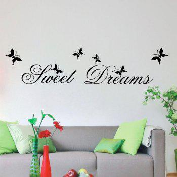 DSU Sweet Dream in Flying Butterflies Wall Sticker - BLACK BLACK