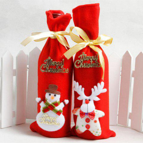 xm 2pcs nonwovens christmas wine bottle decorate holiday decorations red