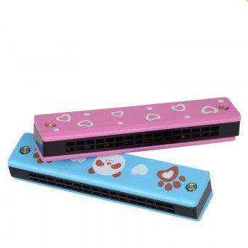 Wooden Colored Painted Harmonica 4PCS for Children - COLORFUL