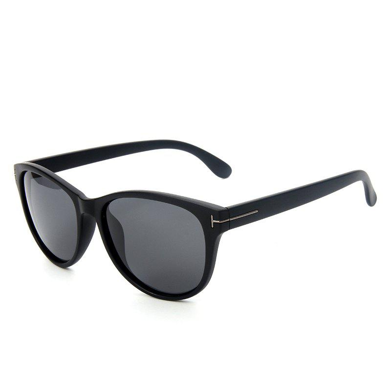 TOMYE P6025 Fashion PC Cat Eye Polarized Sunglasses for Women - MATTE BLACK/GREY