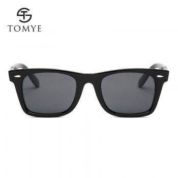TOMYE P851 Fashion PC Square Frame Polarized Sunglasses for Man and Women - BRIGHT BLACK/GREY