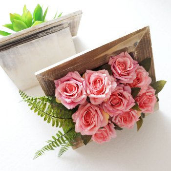 Lmdec TzhM1701 Fake Rose with Photo Set Vase Table Decoration - PINK