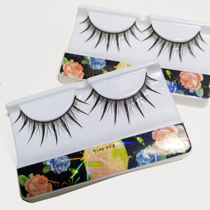 Pair of Black Cosmetic Natural Long Cross Dense False Eyelashes - BLACK