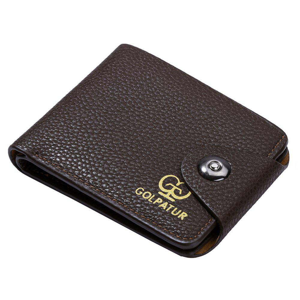 JPT-9003 Magnetic Buckle Man Purse Short Band Bag Leisure Card Wallet - BROWNIE