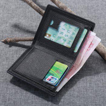 Portable Soft Lychee Print Wallet Men Bifold Short Card Holder - COFFEE