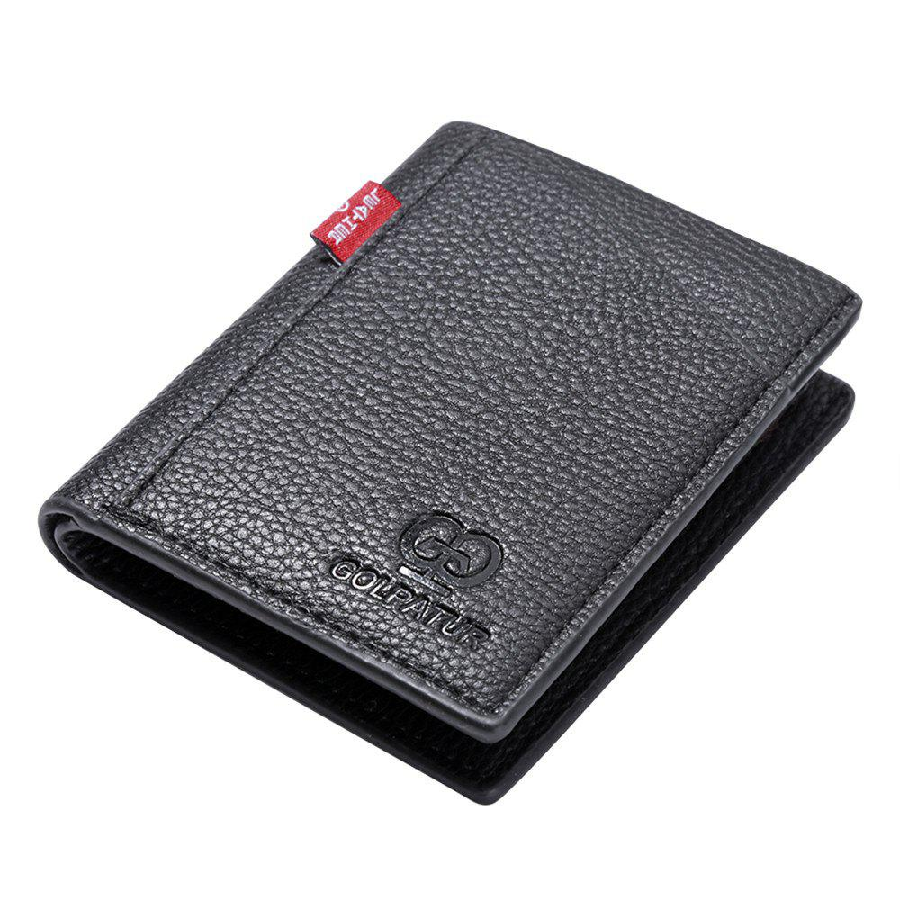 Portable Soft Lychee Print Wallet Men Bifold Short Card Holder - BLACK