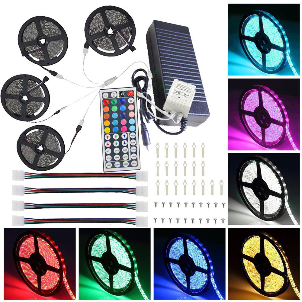 Supli 20M / 45M 5050 RGB 600-Led Strip Lights with 44Key IR Remote Controller Kit 12V 10A Power Supply good group diy kit led display include p8 smd3in1 30pcs led modules 1 pcs rgb led controller 4 pcs led power supply