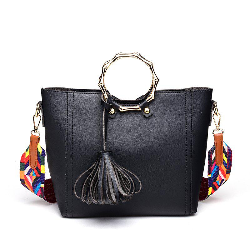 Fashion Simple Shoulder Free Handbag with Tassel - BLACK