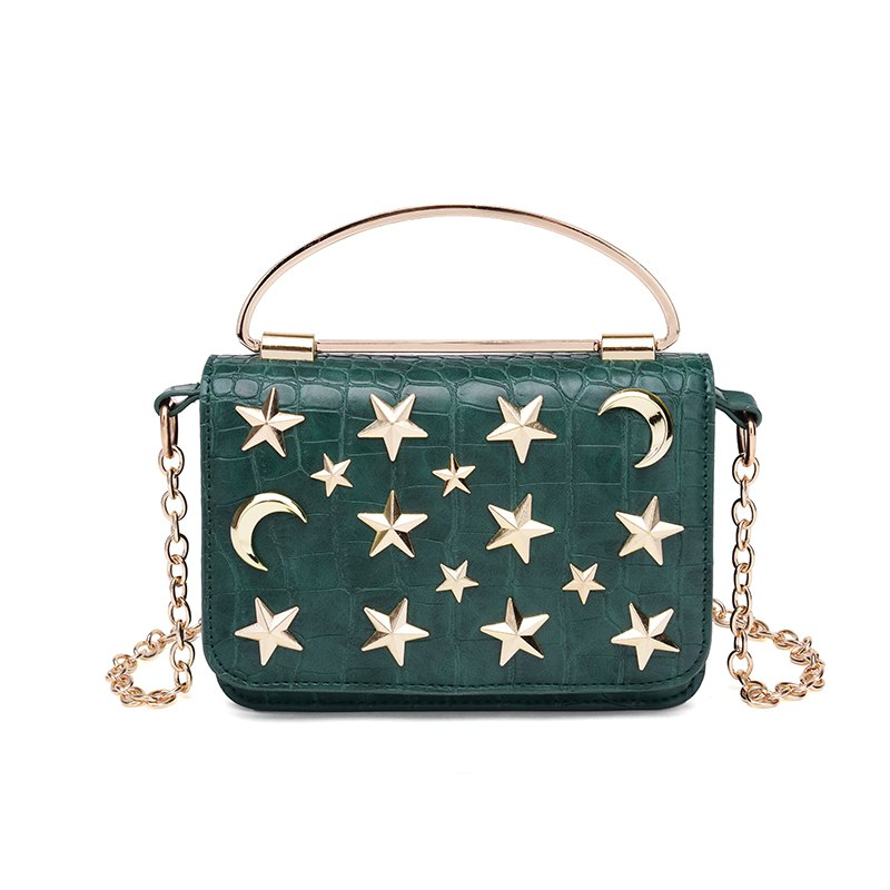 Lady's Bag Fashionable Cross-body Chain Metal Small Package - GREEN