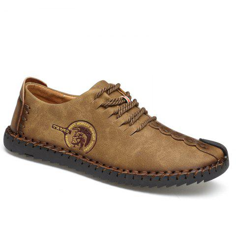 Hand Made Leisure Lace Leather Shoes - BROWN 43