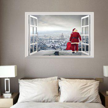 3D Hole Santa Claus Pattern Christmas Wall Sticker -  COLORMIX