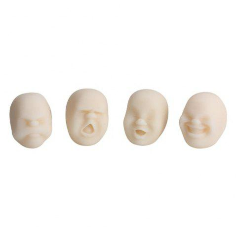 4pcs Creative Decompression Prop TPR Kneading Clownish Human Face Anti-Stress Vent Ball Relaxation Helper Stress Pressure Reducing Toy - SNOW WHITE