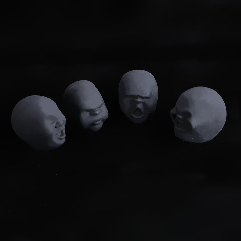4Pcs Creative Decompression Prop TPR Kneading Clownish Human Face Anti-Stress Vent Ball Relaxation Helper Stress Pressure Reducing Toy - BLACK