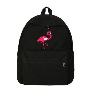 Fashion School Bag with Flamingo Embroidery For