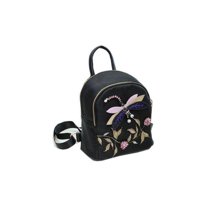 Female Fashion Vintage Ethnic Casual Shoulder Bag Backpack - BLACK