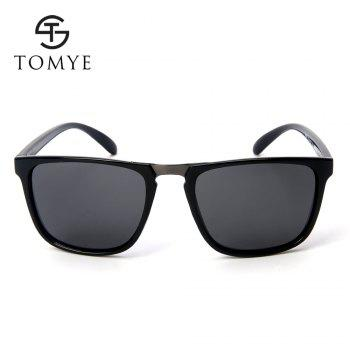 TOMYE P6071 Fashion Neutral PC Square Frame Polarized Sunglasses - BRIGHT BLACK/GREY