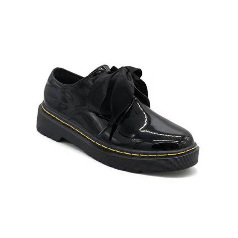YQ-W800 Round Headed Bow Tie Flat Bottom Shoes Small Leather Shoes - BLACK 37