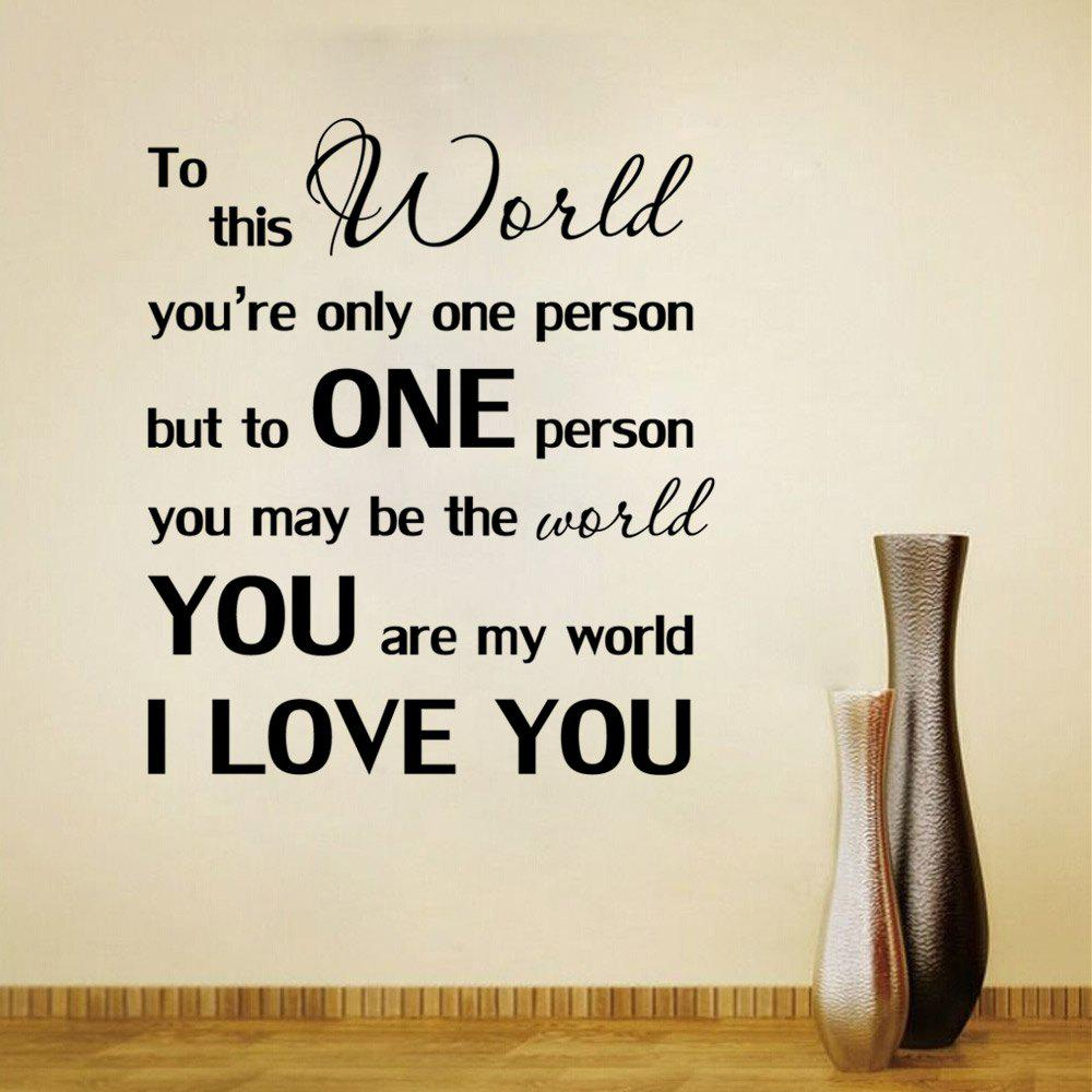You are my world i love you wall sticker black x cm in wall you are my world i love you wall sticker black 51 x 57 cm amipublicfo Choice Image