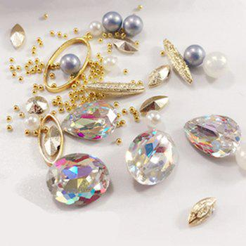1 Box Decorative Big Color Intrigue Jewel Pearl Accessories Mixed Style  Nail Art Decoration 80PCS - multicolor COLOR