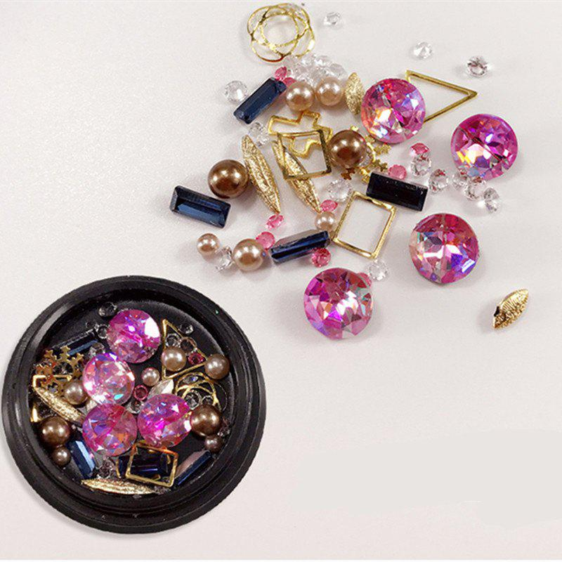 1 Box Decorative Big Jewel Metal Pearl Accessories Mixed Style  Nail Art Decoration 80PCS - COLORMIX