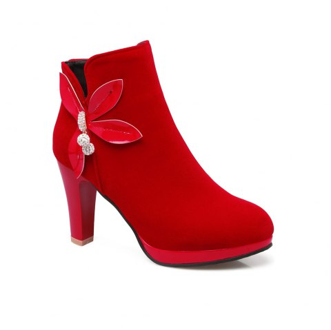 Women's Ankle Bow Knot Decor High Square Heel Boots - RED 34