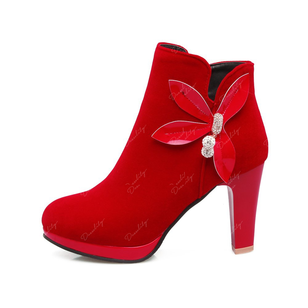Women's Ankle Bow Knot Decor High Square Heel Boots - RED 38