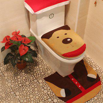 WS 0092 Bathroom Toilet Cover Set Gift and Decoration for Christmas and New Year - COLORMIX