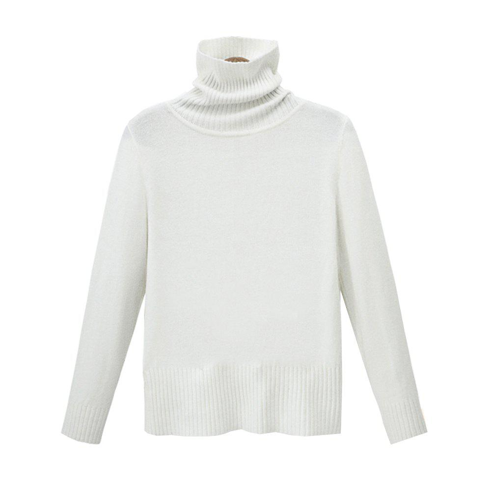 Autumn and Winter Thick High Necked Long Sleeved Solid Color Sweater - WHITE ONE SIZE