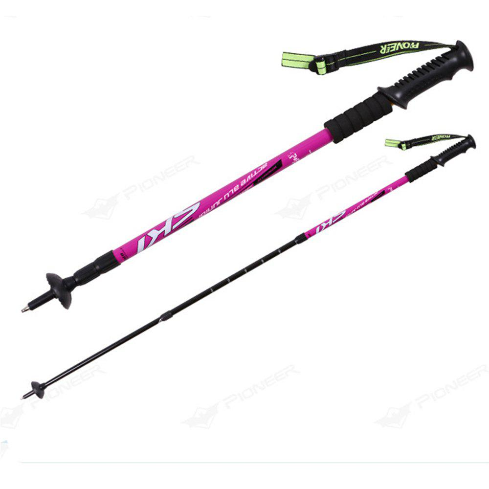 Trekking Poles Folding-Collapsible Hiking Poles Walking Stick - ROSE RED