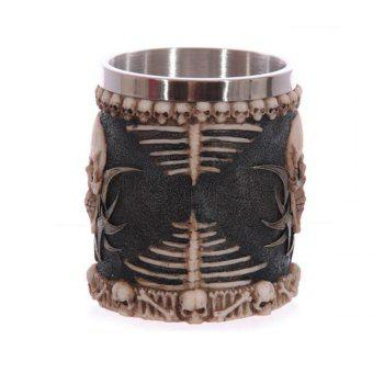 Creative 3D Stereo Skull Face Resin Case Stainless Steel Cup 230ML - BLACK/BROWN 1PC