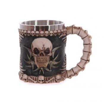 Creative 3D Stereo Skull Face Resin Case Stainless Steel Cup 230ML - BLACK AND BROWN BLACK/BROWN