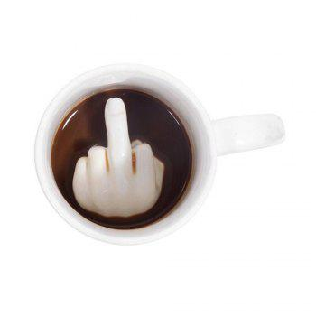 Funny Spoof Creative Middle Finger Ceramic Cup White - SNOW WHITE 1PC