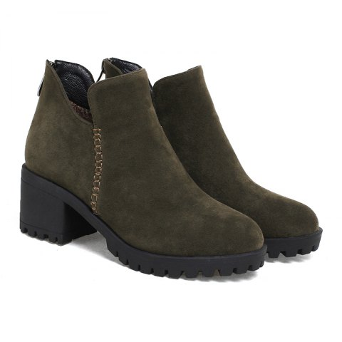 Women's Shoes Fashion Boots Chunky Heel Round Toe Booties Zipper - ARMY GREEN 34