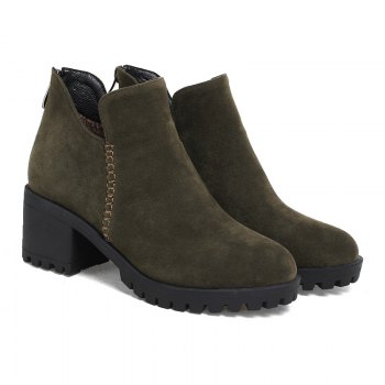 Women's Shoes Fashion Boots Chunky Heel Round Toe Booties Zipper - ARMY GREEN ARMY GREEN