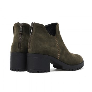 Women's Shoes Fashion Boots Chunky Heel Round Toe Booties Zipper - ARMY GREEN 41