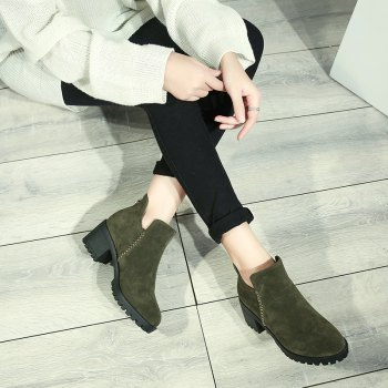 Women's Shoes Fashion Boots Chunky Heel Round Toe Booties Zipper - ARMY GREEN 39
