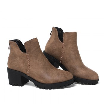 Women's Shoes Fashion Boots Chunky Heel Round Toe Booties Zipper - BROWN 42