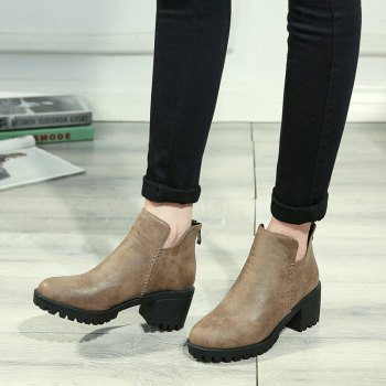 Women's Shoes Fashion Boots Chunky Heel Round Toe Booties Zipper - BROWN BROWN