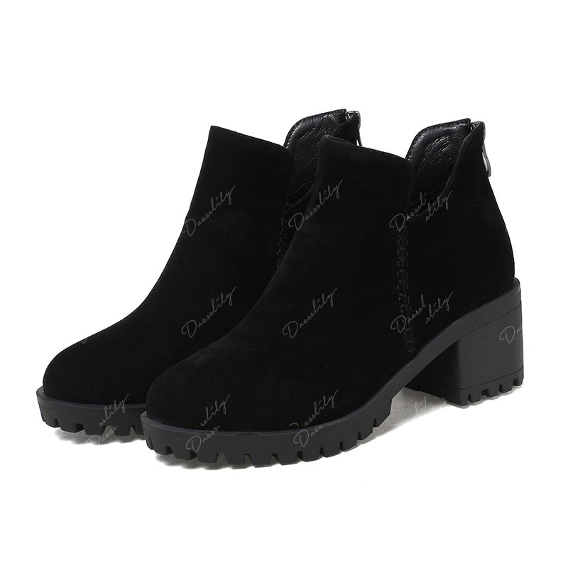 Women's Shoes Fashion Boots Chunky Heel Round Toe Booties Zipper - BLACK 40