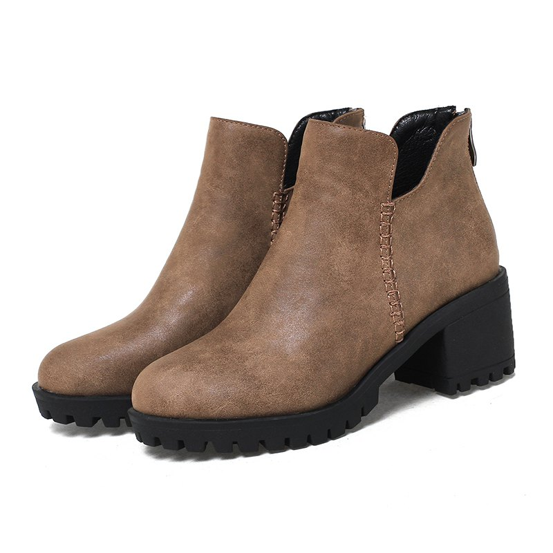 Women's Shoes Fashion Boots Chunky Heel Round Toe Booties Zipper - BROWN 41