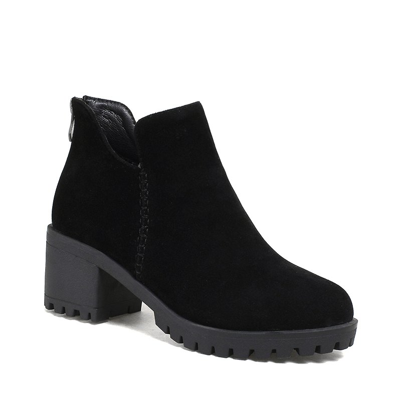 Women's Shoes Fashion Boots Chunky Heel Round Toe Booties Zipper - BLACK 37