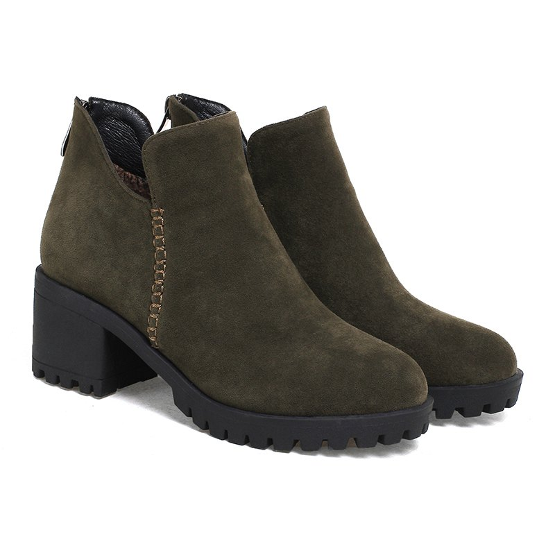 Women's Shoes Fashion Boots Chunky Heel Round Toe Booties Zipper - ARMY GREEN 42